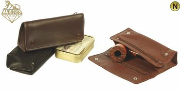 Lubinski - Nappa Pouch for 2 Pipes 4 compartments with Buttons- Cogac   Pipe Pouches and Tobacco Cases