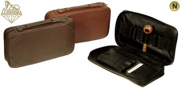 """Lubinski - Pouch """"Nappa"""" 8 Pipes and Tobacco with handle- Light Brown 