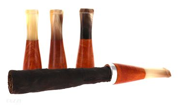 Fuma Toscano- Mouthpiece - Hand Made- Short, Briar-root and horn with siler ring   Toscano Holders and e Mouthpieces