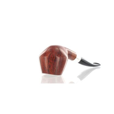 Pipe Il ceppo GROUP 4 brown smooth shape freehand semicurve with silver ring | Pipe Il Ceppo