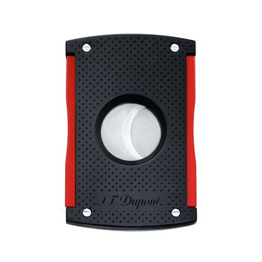ST Dupont - Cigar Cutter MaxiJet - Black Soft Touch and Red | Cigar Accessories