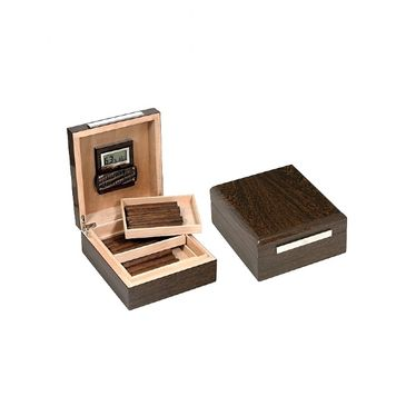 Lubinski - Gift set with Rounded Humidor, 2 Trays and Digital Hygrometer - Ironwood | Cigar Humidors Foreign Manufactoring
