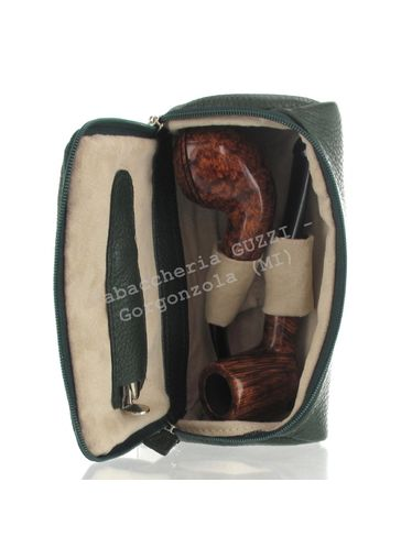 Savinelli - Leather Case 2 Pipes and Accessories- GREEN | Tobacco Pouches