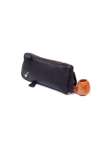 Savinelli -Leather Pouch Pipe and Tobacco- Brown | Pipe Pouches and Tobacco Cases