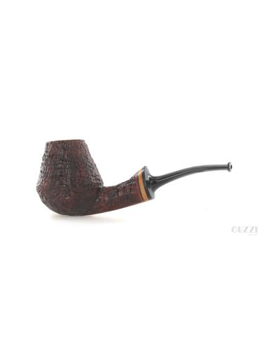 Pipe Vitale ** 2 STELLE brown sandblasted shape half bent brandy with maple tree ring | Vitale Pipes