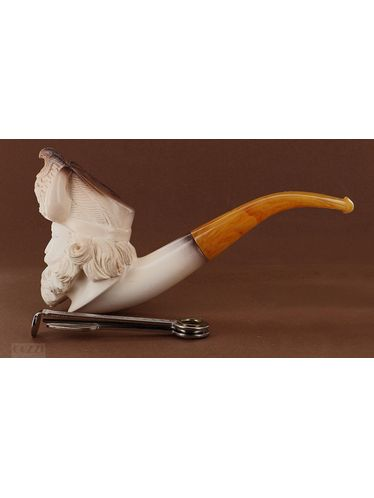 "Pipe Meerschaum Lubinski ""VIKING"" fumè smooth shape freehand 