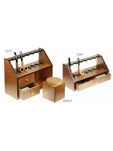 Lubinski - Pipe Stand 7 Seats with drawer - Mahogany Pomelè | Multiple Pipe Stands