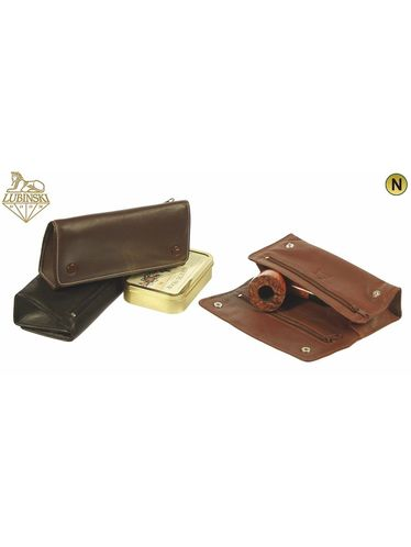 Lubinski - Nappa Pouch for 2 Pipes 4 compartments with Buttons- Black | Pipe Pouches and Tobacco Cases