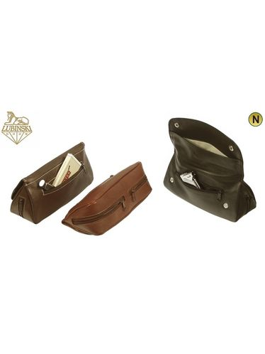 Lubinski - Nappa Pouch 2 Pipes 5 compartments with Buttons- Dark Brown | Pipe Pouches and Tobacco Cases