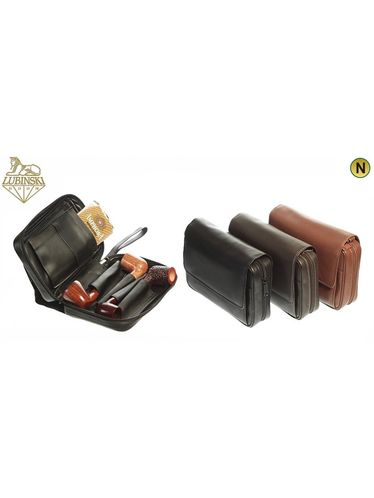 """Lubinski -Pouch """"Nappa""""4 Pipes and Tobacco  with handle- Light Brown 