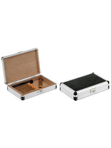 Lubinski - Travel Humidor -Alluminium and Leatherette - Contains up to 12 Cigars or 24 Toscani | Cigar Humidors Foreign Manufactoring