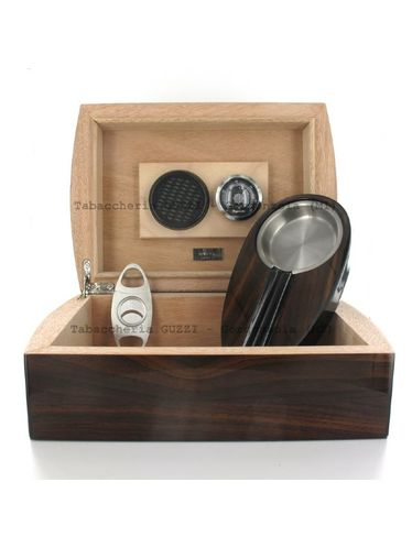 Lubinski - Gift set with Rounded Humidor, Ashtray and Cutter- Walnut | Cigar Humidors Foreign Manufactoring