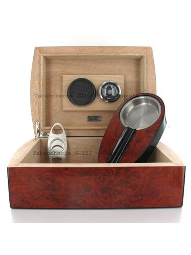Lubinski - Gift set with Rounded Humidor, Ashtray and Cutter - Redwood briar-root | Cigar Humidors Foreign Manufactoring