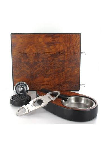 Lubinski - Gift set with Rounded Humidor, Ashtray and Cutter - Opaque Elm   Cigar Humidors Foreign Manufactoring