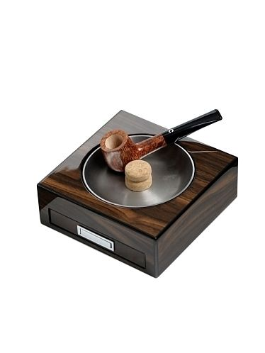 Lubinski - Ashtray with beater and accessories drawer - Polish black walnut wood | Pipe Ashtrays