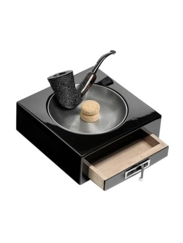 Lubinski - Ashtray with beater and accessories drawer - Polish Black Lacquer | Pipe Ashtrays