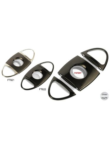 Lubinski - Cigar Cutter - Double blade ROUND Black with Toothed Blades | Cigar Cutters and Scissors