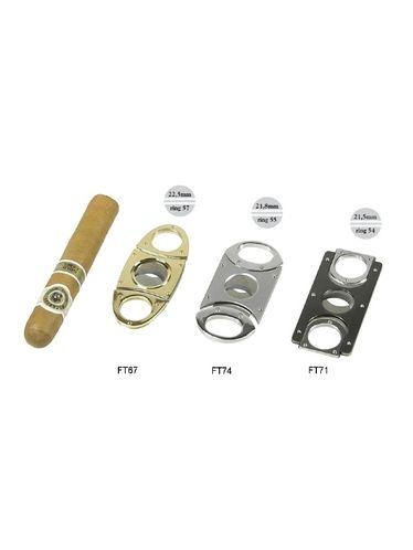 Lubinski - Cigar Cutter - Double blade SQUARE Satin Titanium with box included   Cigar Cutters and Scissors