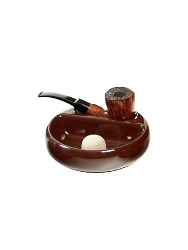 """Lubinski - Ashtray """"Brown Ceramic"""" with beater and 1 stand 