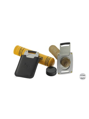 Lubinski - Cigar Cutter - Single Blade FISH Ring 64 Steel with Leather Case | Cigar Cutters and Scissors