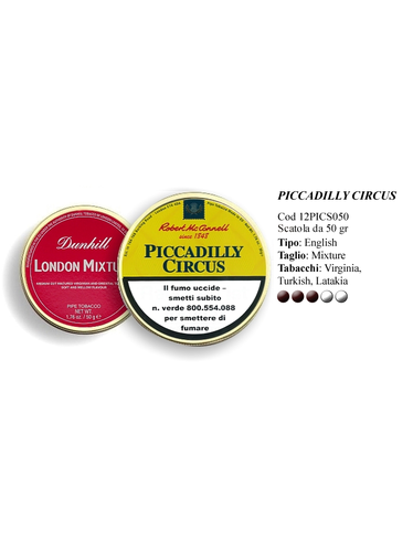 Tabacco da Pipa - Robert McConnell PICCADILLY CIRCUS - Scatola da 50gg | Robert Mc Connell Tabacco da Pipa
