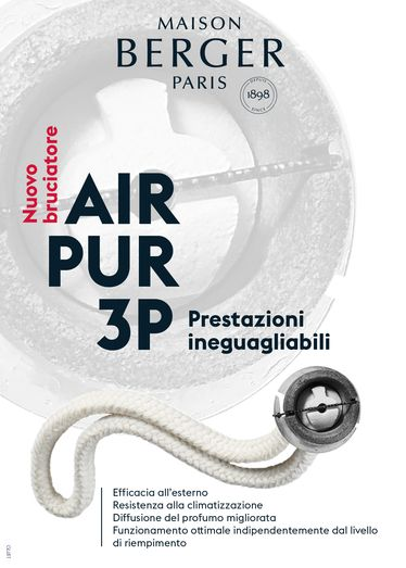 """Lampe Berger - AIR PUR 3C """"CORTO"""" 32 cm - Ricambio Stoppino Bruciatore [CLONE] 