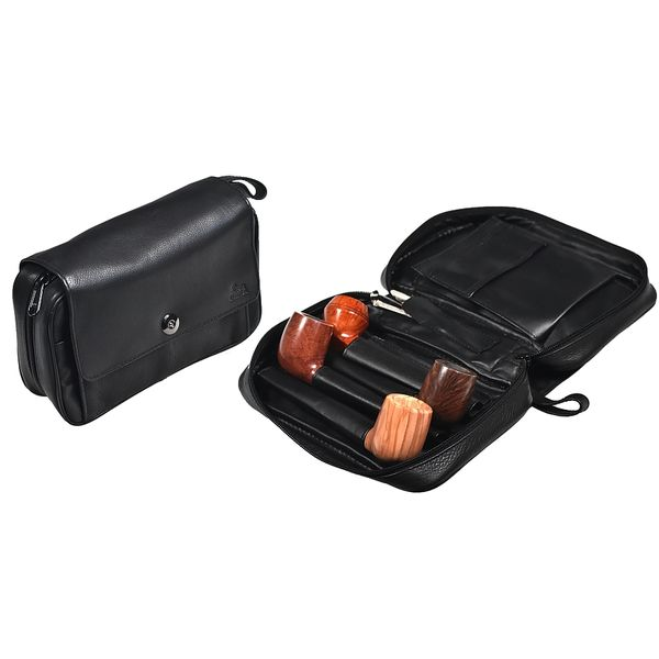 """Lubinski - Calf Leather Bag for 2 Pipes and Accessories Big """"HAVANA"""" - Black 