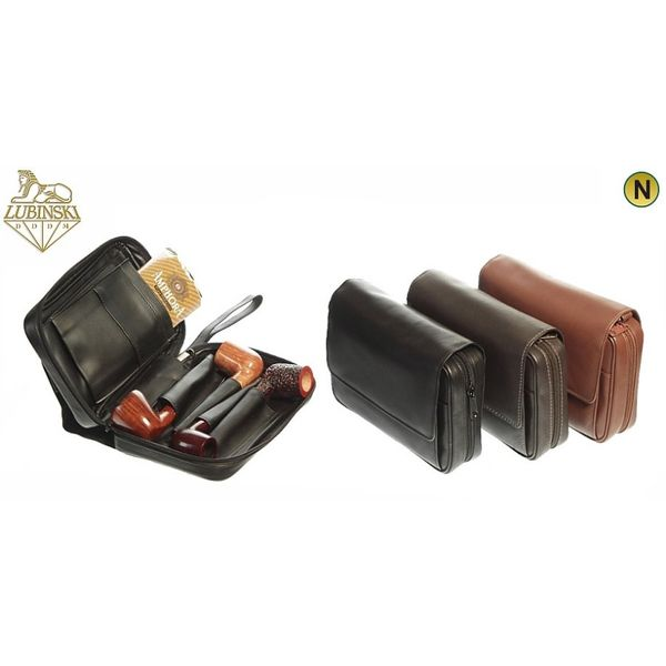 """Lubinski -  Bag """"Nappa 4 Pipes and Tobacco"""" with handle- Light Brown   Pipe Pouches and Tobacco Cases"""